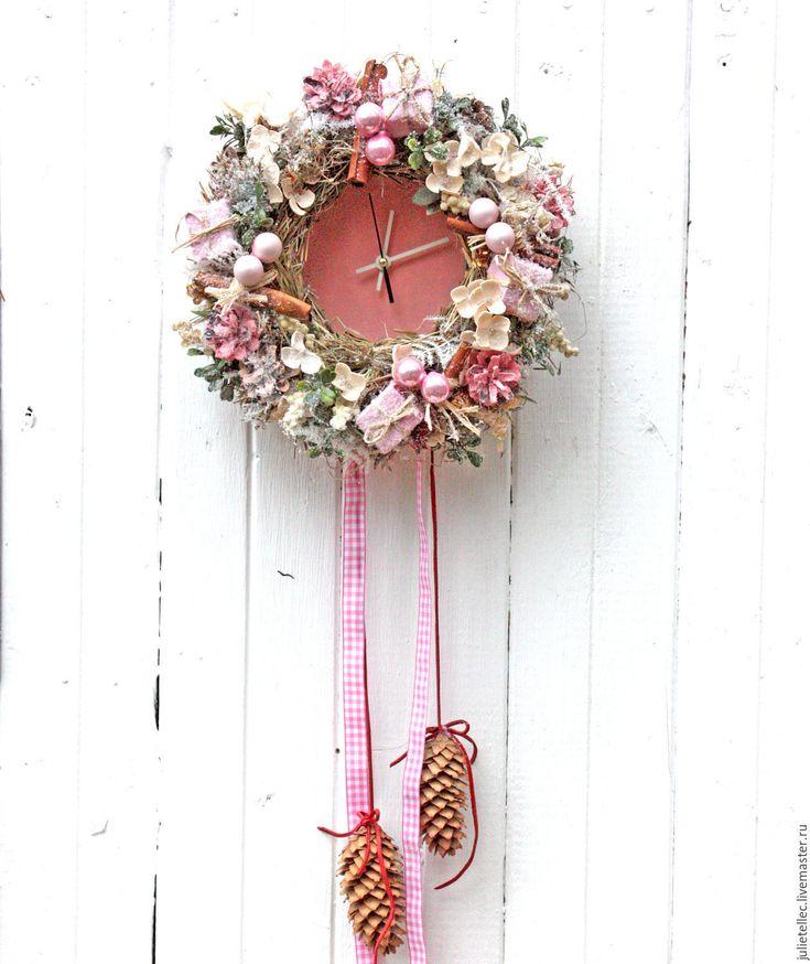 Купить Праздничные часы - розовый, новый год в стиле шебби, Праздник, часы настенные, подарк, рождество