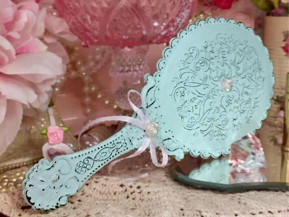 Vintage Blue Shabby Chic Vanity Handheld Mirror Boudoir Decor