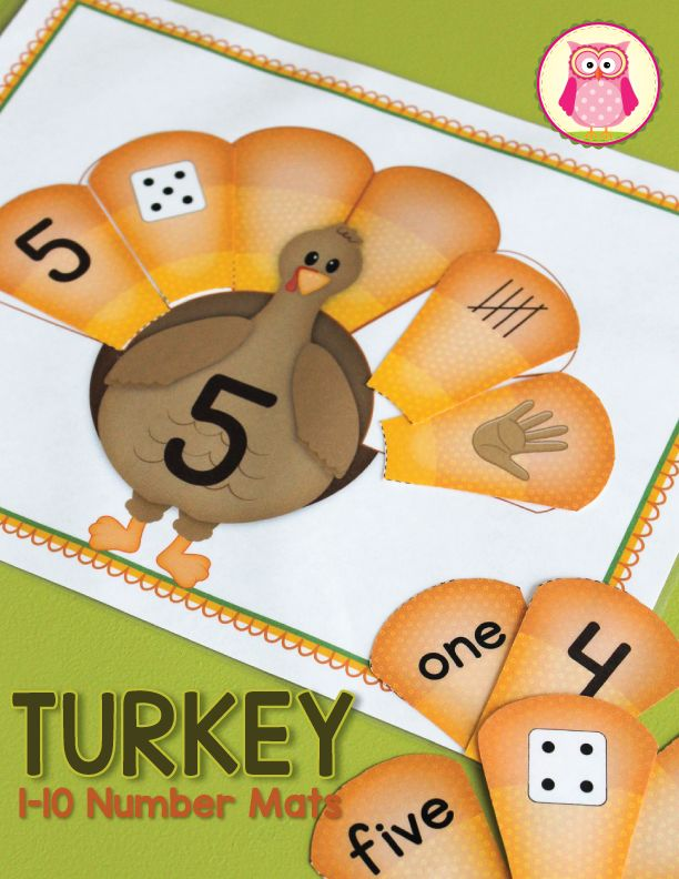 A cute Thanksgiving turkey math activity for preschool, pre-k, and kindergarten math centers.  Kids can practice:  ✔ counting ✔ subitizing ✔ numeral recognition ✔ number word recognition ✔ tally marks