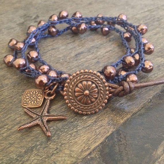 "Starfish & Pearl Crochet Multi Wrap Bracelet ""Boho Chic"" $36.00 by jeri"