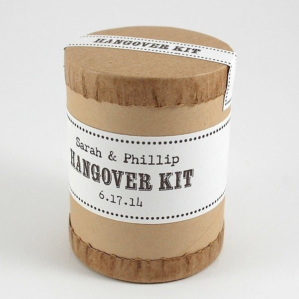 Welcome Bags & Totes - Kraft Cylinder Personalized Hangover Helper Kits by Gifts for the Good Life - NewlyWish.com