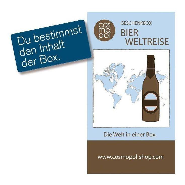 """Die Geschenkbox Bierweltreise eignet sich als Geschenkidee für Männer. Stellen Sie sich aus Bieren """"aller Herren Länder"""" eine individuelle Bierbox zusammen."""