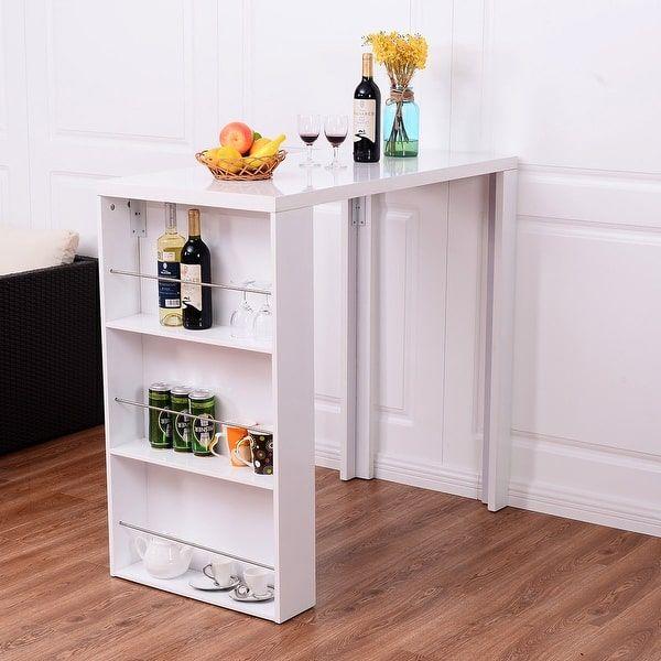 Costway Modern Bar Table Storage Shelves Pub Bistro Counter Kitchen Furniture White $99