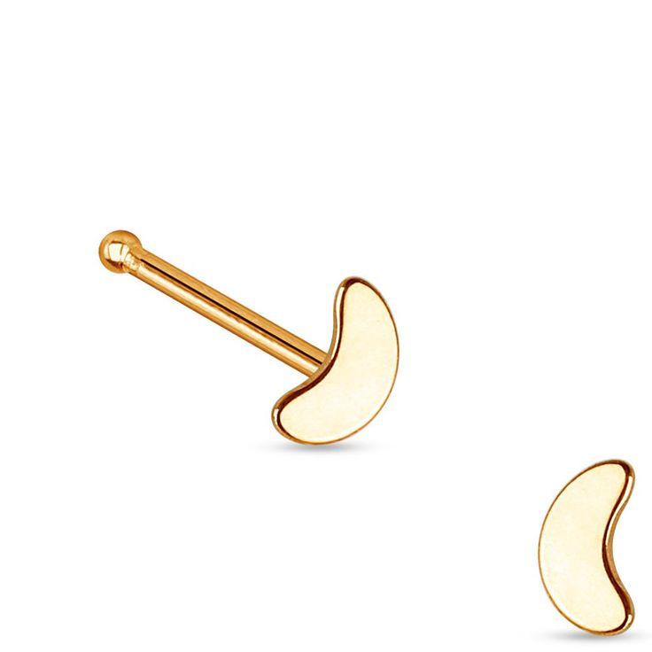Rose Gold Moon Nose Stud Ring, 20G Crescent Nose Bone