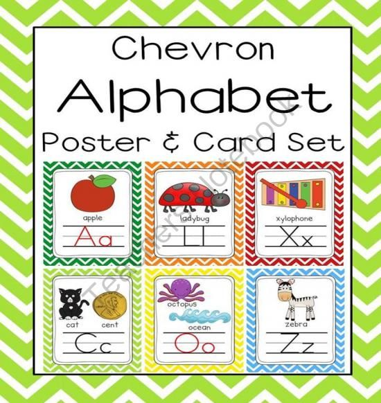 Chevron Alphabet Poster (8.5 x 11 and 5x7) Sound Pack from First Class Teacher Resources on TeachersNotebook.com -  (63 pages)  - This bright and cheery chevron alphabet pack is both eye grabbing and includes 2 sizes of alphabet posters, 8.5 x 11 and 5x7. Open the preview to get a free alphabet picture chart!