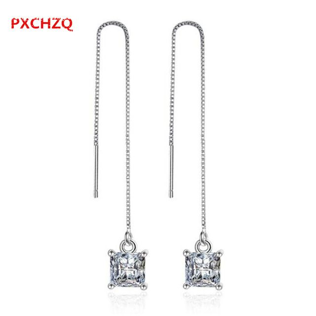 PXCHZQ Europa y los Estados Unidos de moda pendientes de cristal de moda de lujo clásico de la joyería femenina pendientes largos de plata