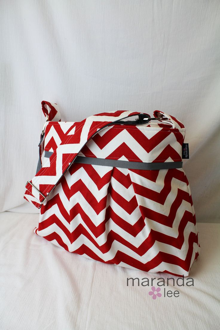 Stella Chevron Diaper bag Large in Red Chevron with by marandalee, $89.00