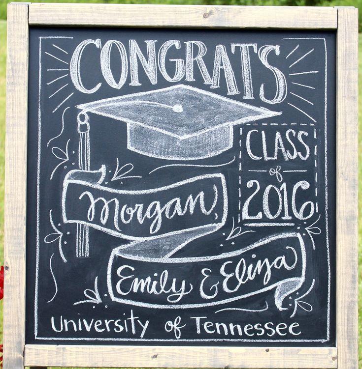 Graduation party chalkboard decoration idea miss welden