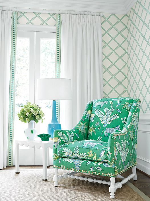 Thibaut wallpaper MAJULI TRELLIS, Trade Routes, Green + Thibaut fabric GOA, green