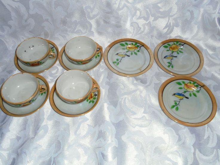 Vintage Lustre China Pieces To Child's Tea Set Bird Branch & Flower -Not Mint