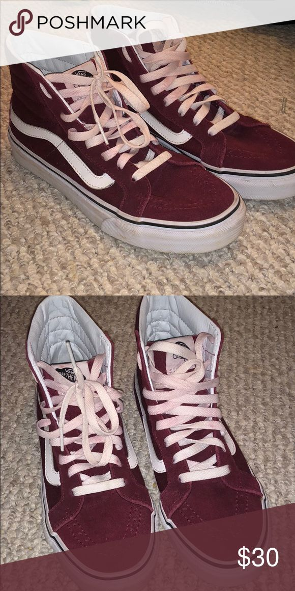 Burgundy high top vans! Shoe laces came like that. Fits too big for me Vans Shoes Sneakers