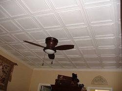 R 24 Styrofoam Ceiling Tile - Painted White and Installed