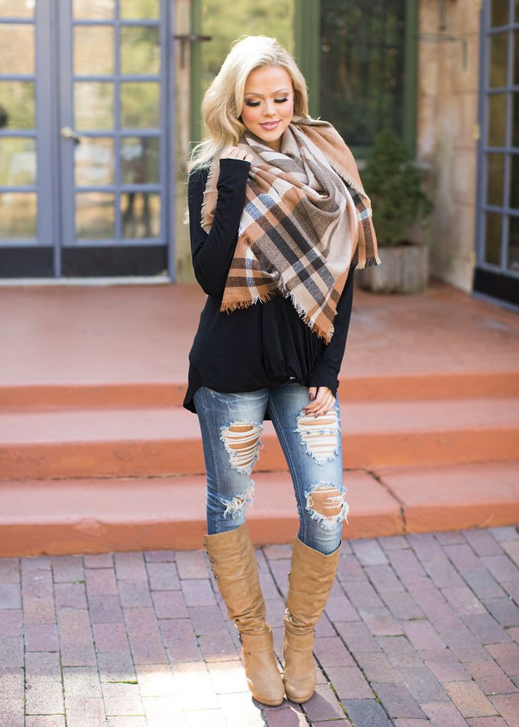 Keep Me Warm Blanket Scarf Camel - Modern Vintage Boutique