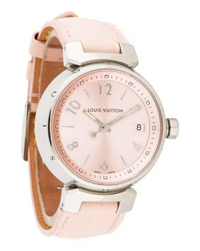 Louis Vuitton Silver Pink Alligator Leather Watch. Get the lowest price on Louis Vuitton Silver Pink Alligator Leather Watch and other fabulous designer clothing and accessories! Shop Tradesy now