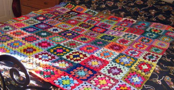 Charlotte Crochet Blanket Granny Square Blanket by Thesunroomuk, £180.00