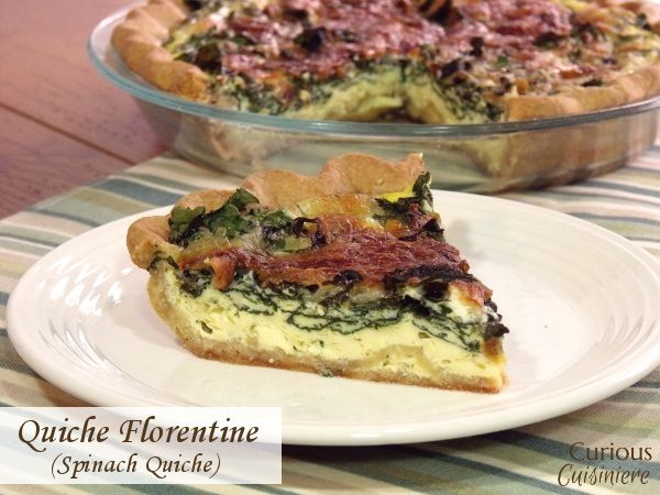 A French dish with Italian inspiration, Quiche Florentine is an elegant, yet easy, spring-inspired dish. | www.CuriousCuisiniere.com
