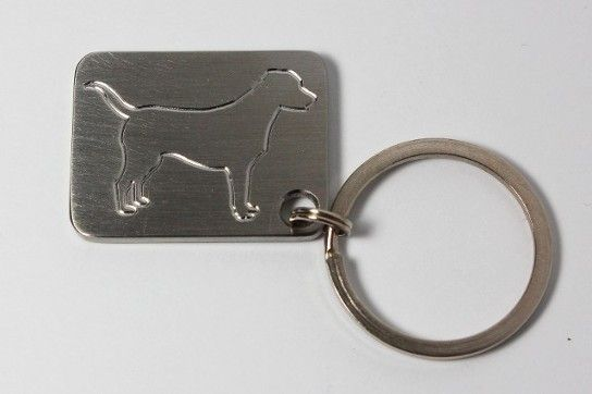 Black lab outline key chain stainless steel made by www.vermontcnc.com