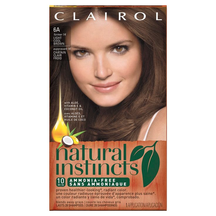 Clairol Natural Instincts Non-Permanent Hair Color - 6A/14 Tweed Light Cool Brown - 1 Kit, Light Cool Brown-14