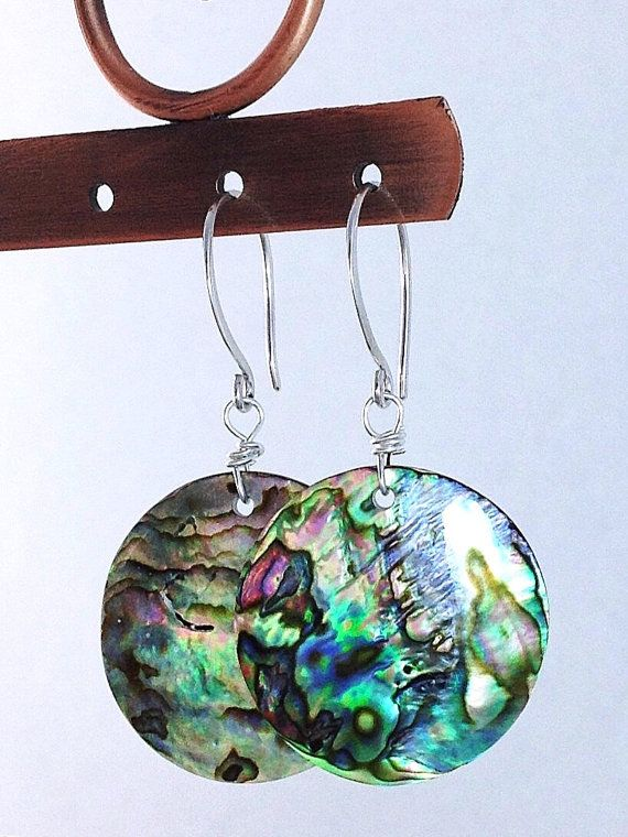 Abalone Earrings, Round Natural Paua Shell Jewelry, Sterling Silver French Hooks, Real Sea Shell Earrings