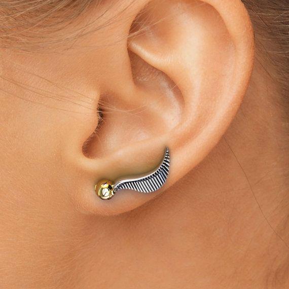 Small Ear Climber Earrings, Potter Earrings Mini Golden Snitch Earrings, Potter Snitch Jewelry, Ear Crawlers