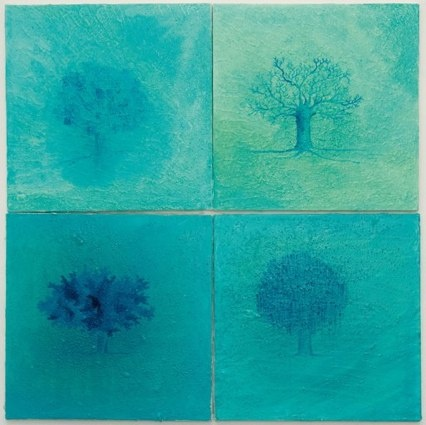 Inverno - tecnica mista, olio su tela 4 tele 40 x40cm-