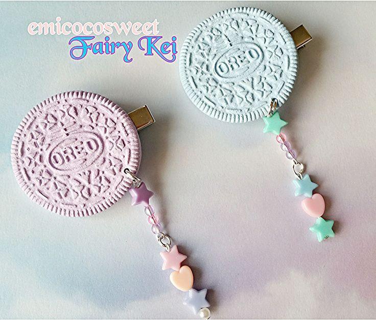 Cute Pastel hair clips,Fairy Kei hair clip,Punk Emo goth rockablilty hair clips