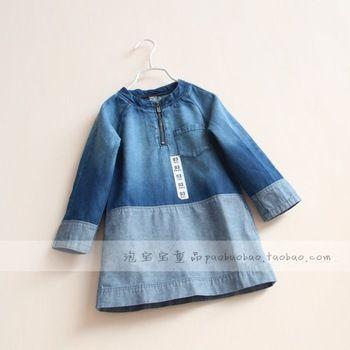 Детская одежда 2014 весенние девушки ребенок джинс цельный платье с длинными рукавами ковбой платья