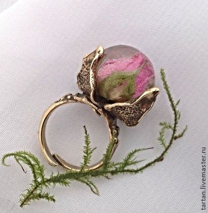 """Кольцо """"Розовый бутон"""" натуральные украшения - розовый,кольцо,кольцо с розой"""