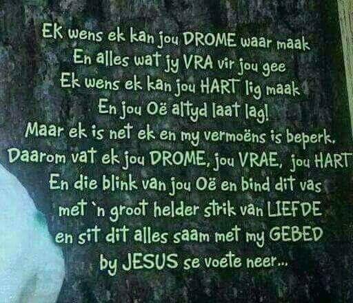 My gebed vir jou...  Lekker slaap....