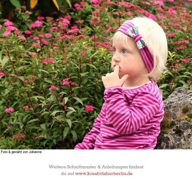 Haarband nach dem kostenlosen Schnittmuster http://www.kreativlaborberlin.de/naehanleitungen-schnittmuster/haarband-mit-schleife-in-5-groessen-baby-erwachsene/