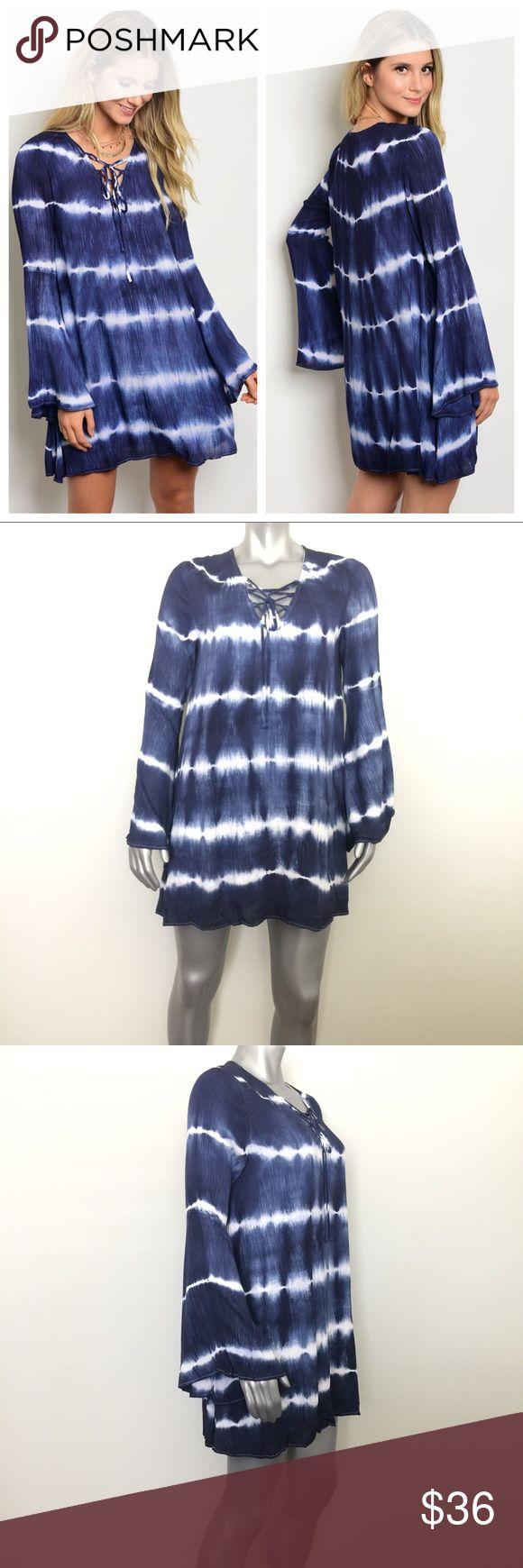 "Tie Dye Boho Bell Sleeve Mini Dress Trendy bell sleeve tie dye mini dress. Fully lined. 55% linen, 45% rayon. Length: 33"" (S, M, L) Bust: 40"" (S), 41"" (M), 44"" (L) Dresses Mini"