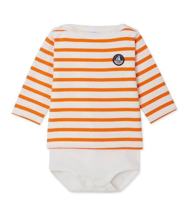 Body marinière bébé manches longues Petit Bateau blanc, orange
