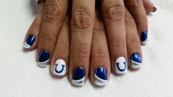 Colts Football themed nail art