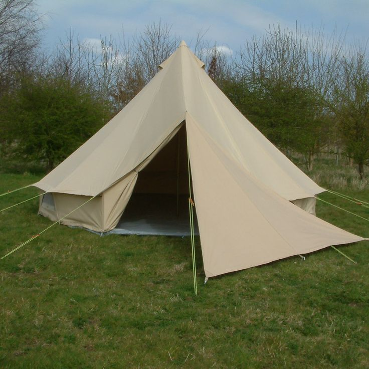 Our 5m Bell Tent with our 3m Tri-Awning...Creates privacy as well as stopping the breeze!