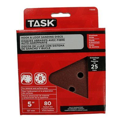 Task Tools T13059 Hook and Loop 8 Hole 80 Grit Disc (25 Pack)