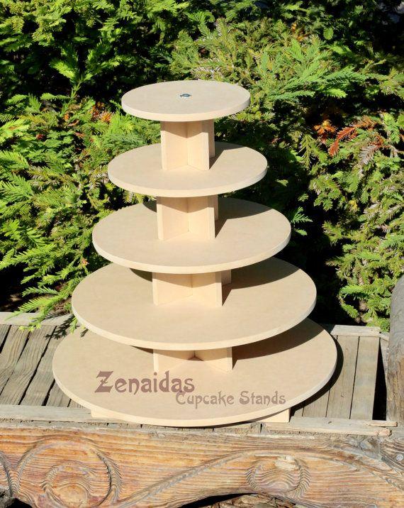 Stand petit gâteau rond niveau 5 avec tige filetée MDF bois bricolage projet Cupcake tour anniversaire Stand Stand-présentoir de mariage