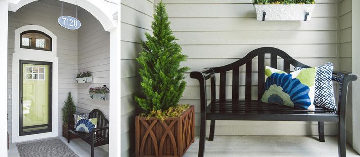 Add some curb appeal to your front porch with a traditional outdoor bench, easy-to-read address numbers, and pops of greenery in patio and wall planters. Neutral rugs and patterned pillows complete this welcoming look.