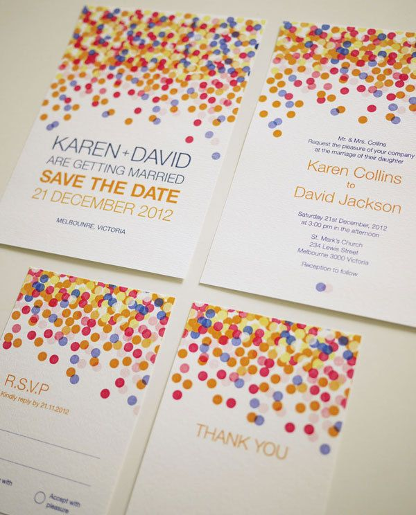 Colorful Confetti - Wedding Invitation Set (PRINTABLE) - the dots will be replaced with tennis balls, table tennis balks, volleyball, and basketballs