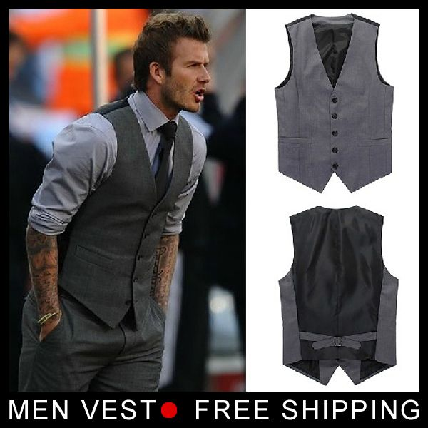 Men's Formal vest Beckham vest Men casual suit vest Undershirt beer for Male singlet size M L XL XXL XXXL