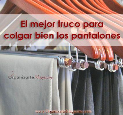 Cómo colgar los pantalones para que estén siempre impecables [video] http://www.organizartemagazine.com/como-colgar-los-pantalones-para-que-esten-siempre-impecables-video/