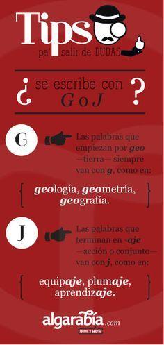 ¿Se escribe con G o J? #tip #lengua #español