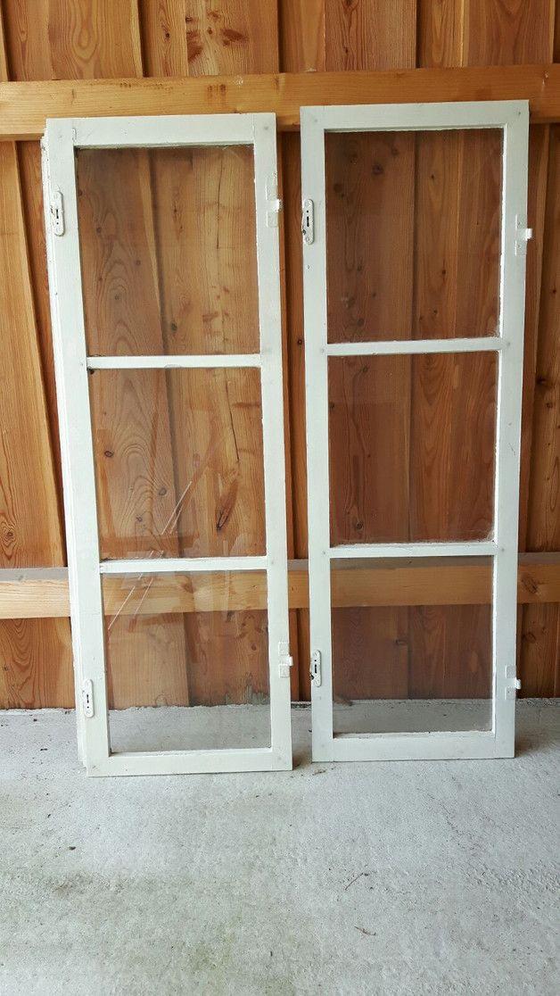 Simple  uraltes Holzfenster Sprossenfenster es ist wirklich Shabby Pur toll zur Dekoration alle Glasscheibe sind heil Preis bezieht sich auf Fl gel