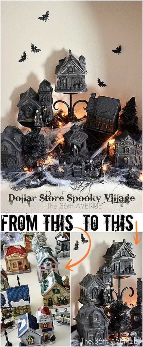 DIY Dollar Store Halloween Village. Craft this spooky Halloween village to decorate your mantle or display at a Halloween party. Easy and fun to mix and match with supplies from dollar store.