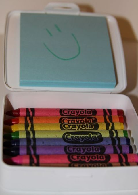 Super idea - travel soap holder with post it notes and crayons. Great for airplane.