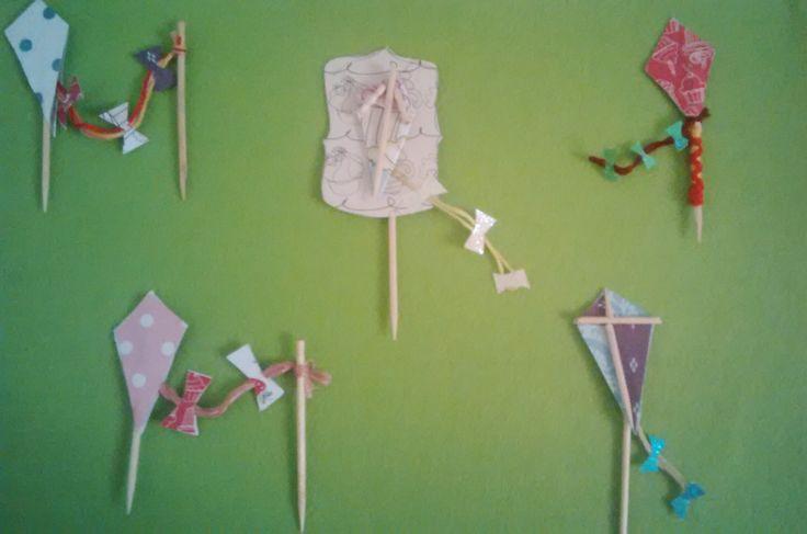 DIY kite cupcake toppers