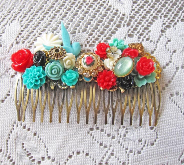 Wedding Hair Comb Aqua Turquoise Red Cyan Teal White Bridesmaids Bridal Hair Comb Hair Jewelry Accessories Venetian Boudoir