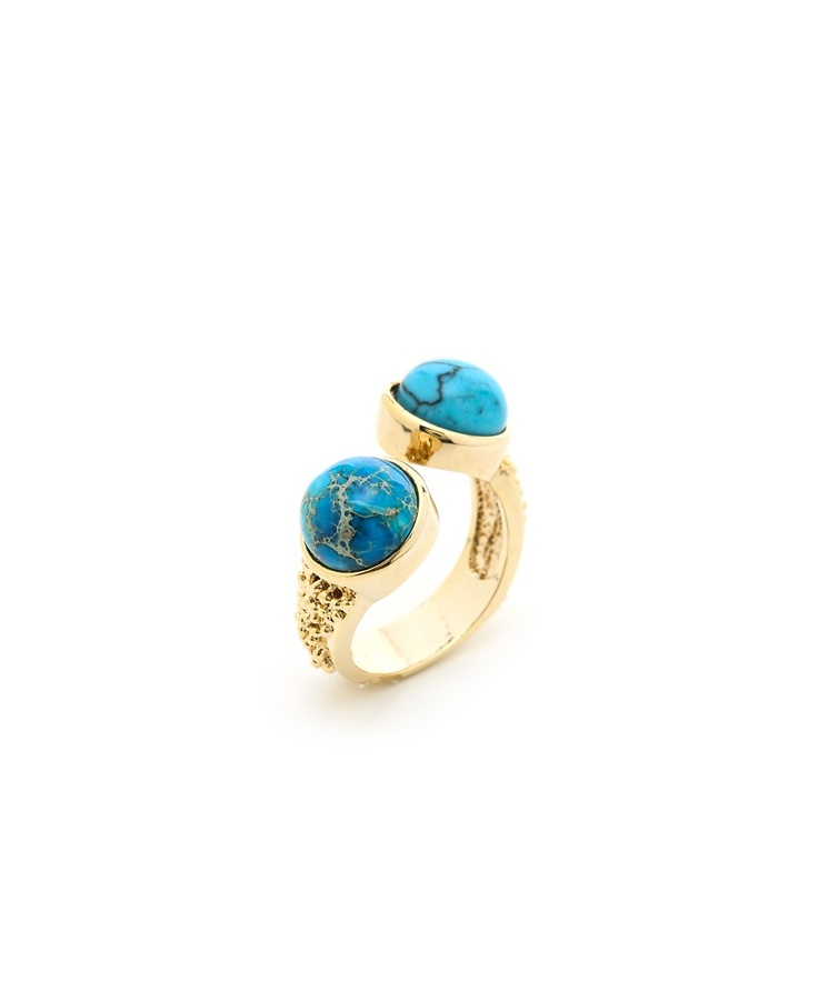 Double Stack Stone Ring - Blue  $9.50
