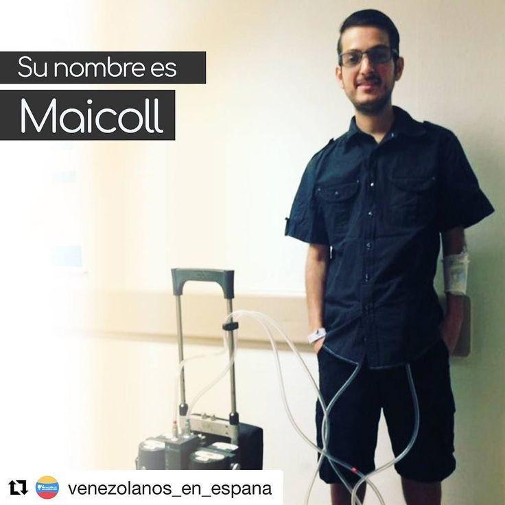 #Repost @venezolanos_en_espana (@get_repost)  Su nombre es Maicoll y hoy no vengo a presentártelo por casualidad.  Él es un jovenvenezolano de tan sólo 27 años que decidió emigrar a España. Quizás sus razones sean diferentes a las tuyas y a las mías yo lo hice por calidad de vida él lo hizo por necesidad. Maicoll tiene una residencia muy especial actualmente se aloja en elHospital Universitario Gregorio Marañónen Madrid esperando con paciencia lo que tanto ha estado esperando un trasplante…