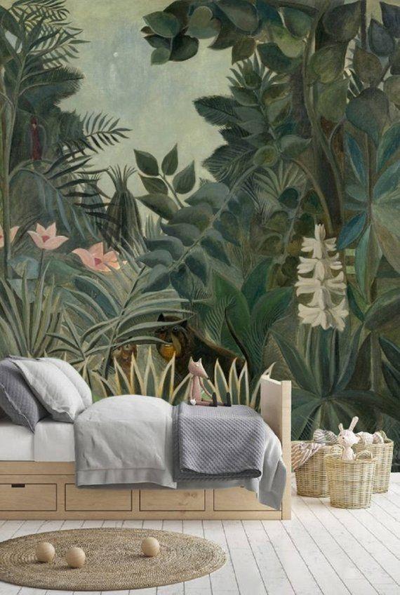 Peel And Stick Wallpaper Leaves Jungle Wallpaper Kids Etsy Wallpaper Pojkrum Tapet Barnrum Djungel