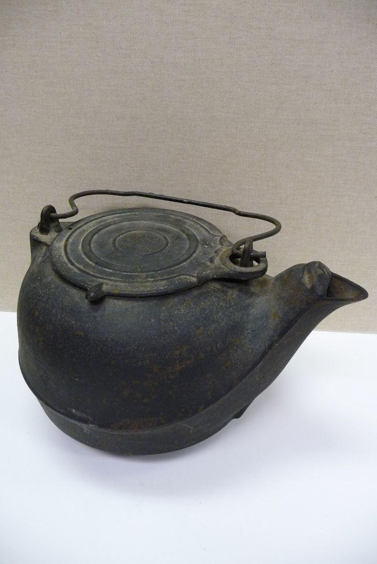 Cast iron kitchen trivet tea pot stand metal hot dish tray cookware - Antique Cast Iron Tea Kettle Number 7 Coffee Pot Primitive 35 00 Via Etsy